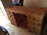 Pine Dressing Table /Desk , with 6 drawers . Size L 54in D 18in H 30in. Free local delivery.