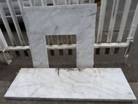 """HUGE Marble Fire Hearth & Back Panel Surround 60"""" Hearth - Delivery Possible"""