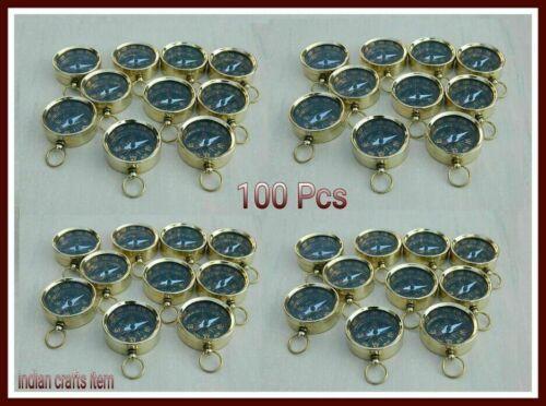Lot of 100 Shinny Brass Working Compass keychain Nautical Handmade solid Gift