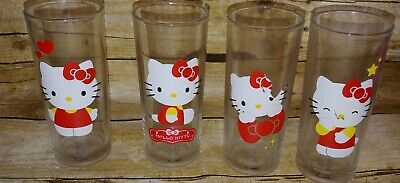 Set Of Four Sanrio HELLO KITTY Drinking Glasses - 2013 Red RARE Collectible T8