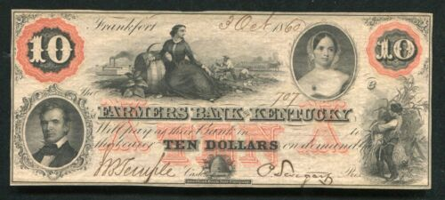 1860 $10 FARMERS BANK OF KENTUCKY FRANKFORT, KY OBSOLETE CURRENCY NOTE UNC