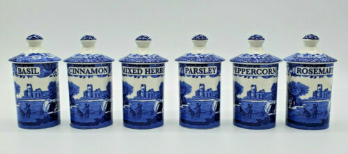 NIB SPODE Blue Italian 6-PC Set SPICE JARS Blue White Porcelain High Quality