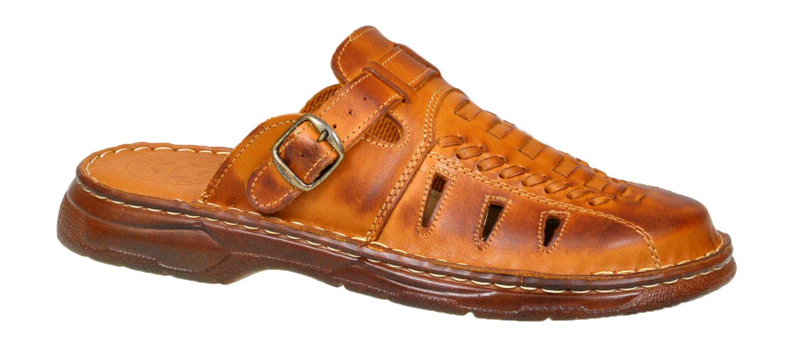 Men Genuine Buffalo Leather Orthopedic Sandals Slip On ...