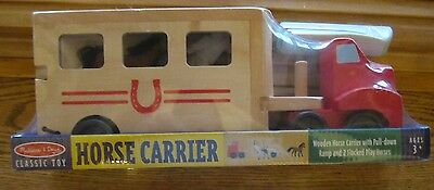 Melissa and Doug Wooden HORSE CARRIER New! Truck Trailer 2 Horses Classic Toy