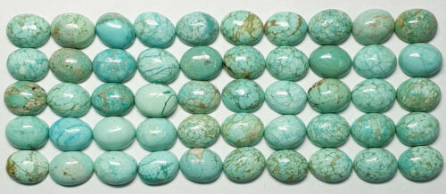 50 Very Rare and NATURAL Australian Turquoise 9x7 mm Oval Cabochon NOT TREATED