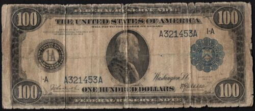 1914 $100 One Hundred Dollar Boston Federal Reserve Note Fr#1084