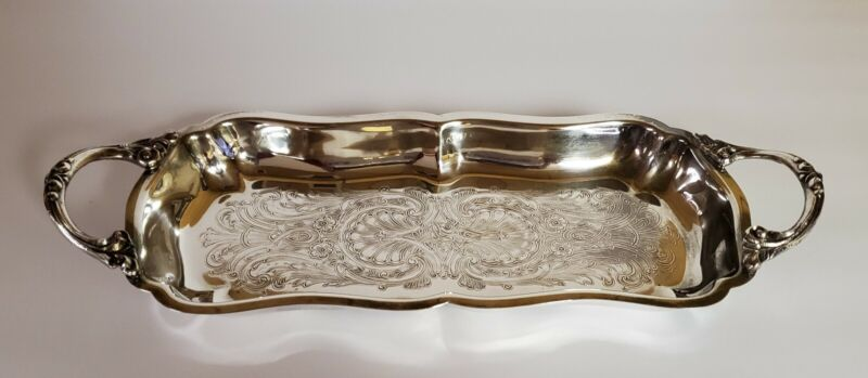 Vintage English Silver MFG Corp Serving Tray-Platter w/Handles. Made in U.S.A.
