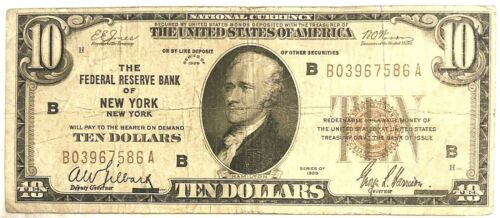 1929 $10 National Currency Note New York, NY - XF