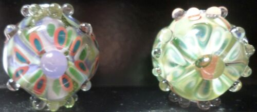 2 Hand Crafted Glass Multi-Colored Bumpy Focal Lampwork Beads Vintage Large O103