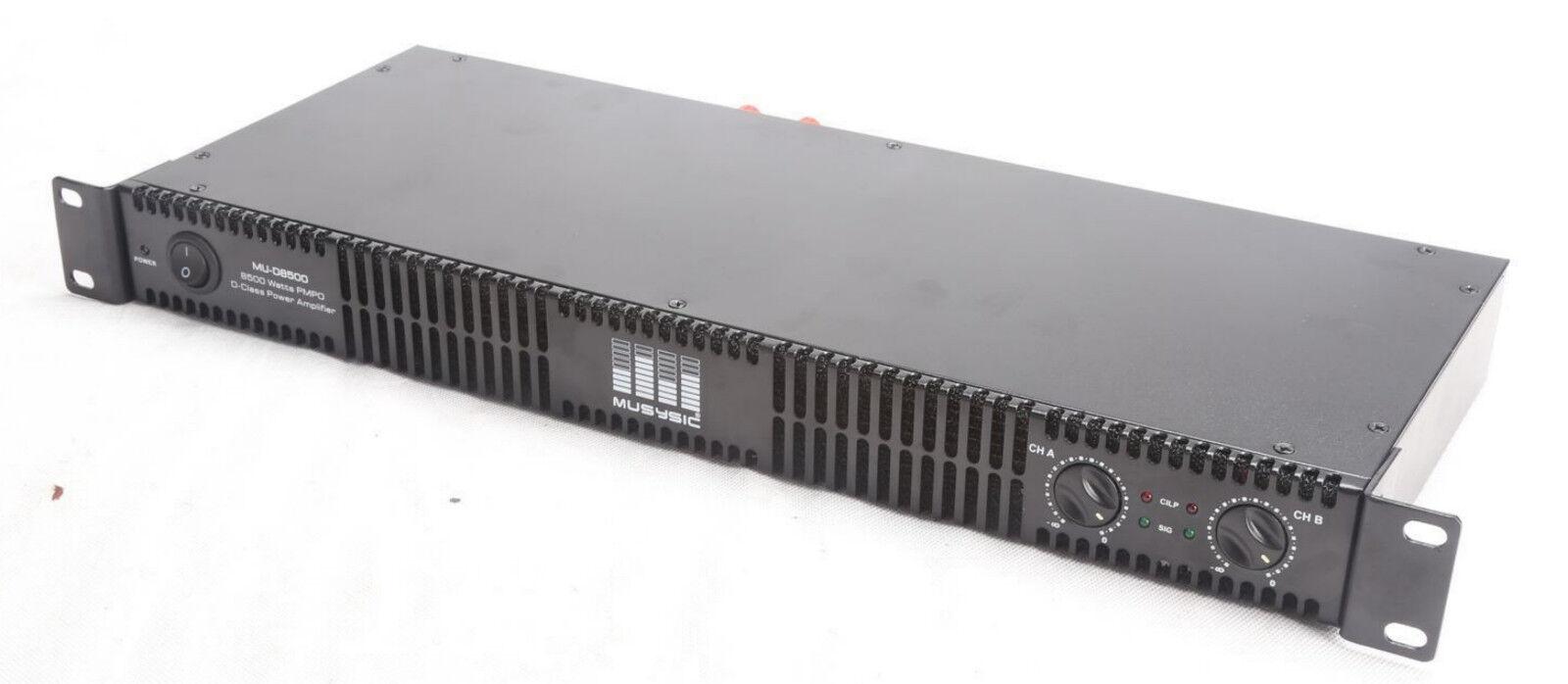 musysic professional 2 channel 8500 watts d class 1u power amplifier mu d8500 amplifiers. Black Bedroom Furniture Sets. Home Design Ideas