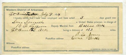 1894 FORT SMITH U. S. MARSHAL VOUCHER- WESTERN DISTRICT OF ARKANSAS.