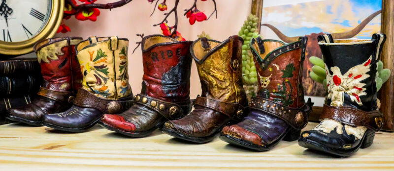 Set of 6 Rustic Western Tooled Leather Finish Cowboy Boots Miniature Figurines