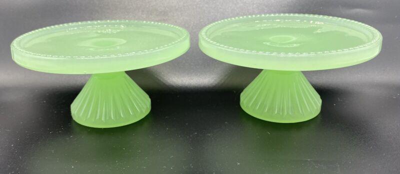 2 Vintage Jadeite Green Milk Glass Pedestal Candle Cake Cupcake Stand Holder
