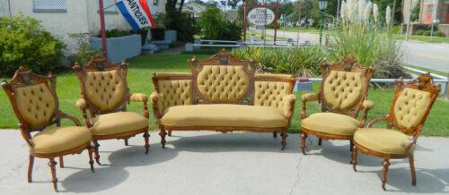 Walnut Victorian Parlor Set~Sofa~2 Gentlemans Chairs~2 Ladies Chairs~Herter Bros