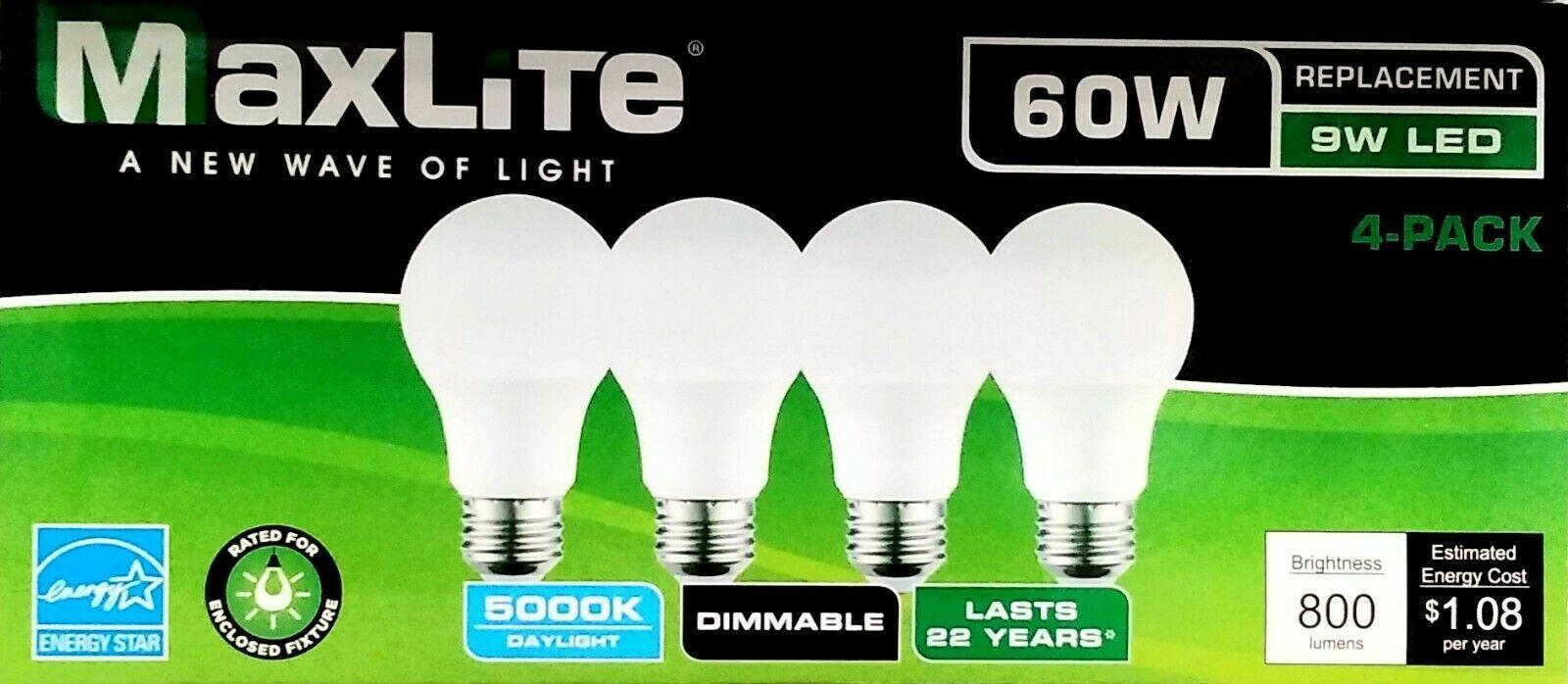 4-PACK DAYLIGHT 9W LED LIGHT BULBS 60W EQUIVALENT A19 800 LU