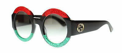 New! Gucci Round Women's Sunglasses Red Black Green w/ Grey Lens GG0084S 51mm