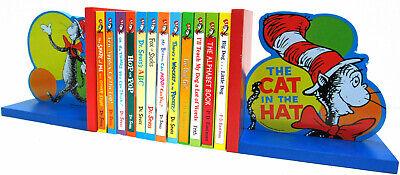 Dr Seuss 12 Bright & Early Board Books Hop On Pop,Go Dog+Cat in the Hat Bookends