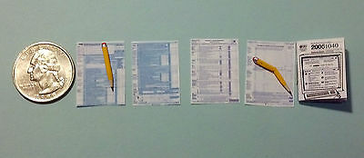 Dollhouse Miniature Tax Forms 1040 book & pencil 1:12 scale  H25 Dollys Gallery