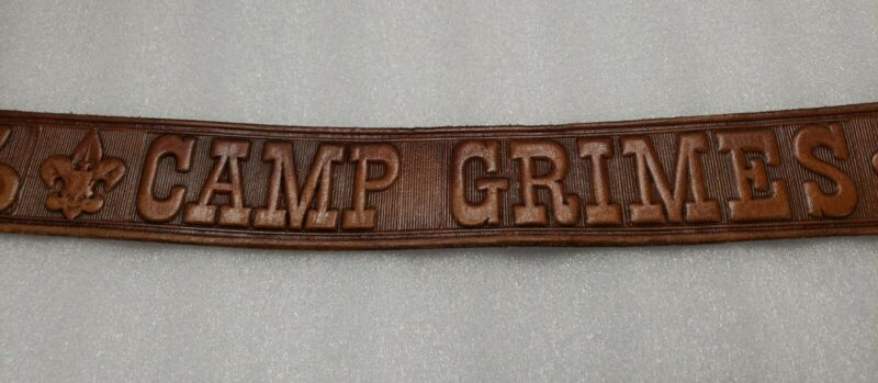 """Boy Scout Camp Grimes NC Steerhide Brown Tooled Leather 1 1/8"""" Wide Belt Size 40"""