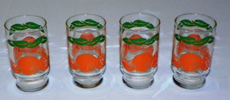 VINTAGE MCM MID-CENTURY-MODERN Anchor-Hocking ORANGE JUICE OJ PEDESTAL GLASS SET