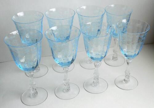 "Set Of Eight Vintage Signed Fostoria Blue Navarre Water Stem Goblets 7 5/8"" Tall"
