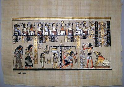 NEW HAND PAINTED EGYPTIAN ART ON PAPYRUS: Judgement and weighing of Heart A60