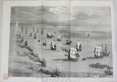 BALTIC FLEET, SPITHEAD - SHIPS - ORIGINAL 19th CENTURY MARITIME ENGRAVING c.1855