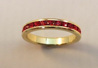 3MM 14KT GOLD EP STACKABLE JULY RUBY WEDDING ETERNITY RING SIZE 5