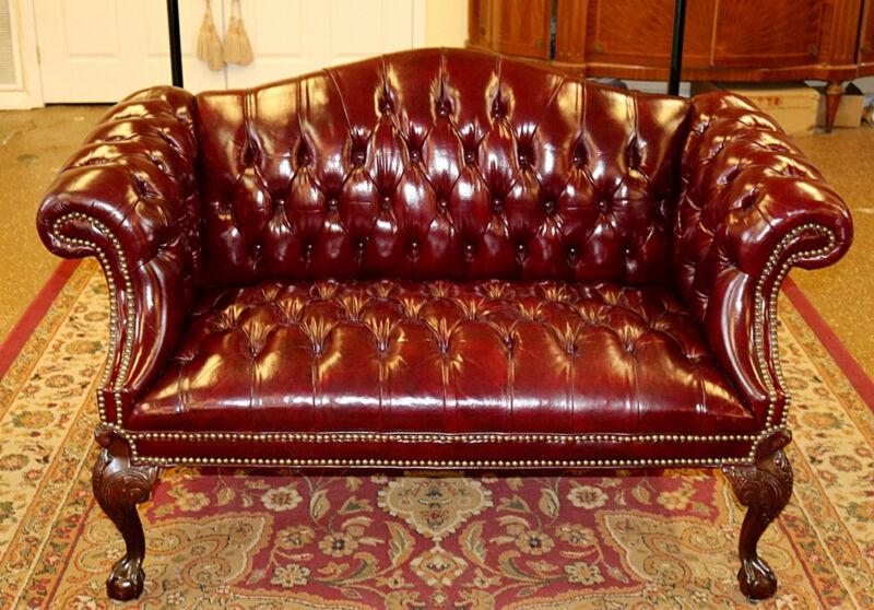 Gorgeous English Burgundy Tufted Leather Settee Loveseat Sofa