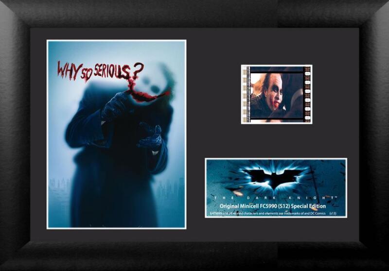 BATMAN The Dark Knight JOKER Heath Ledger FRAMED FILM CELL and MOVIE PHOTO New