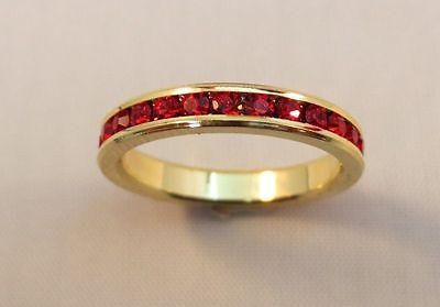SIZE 7 14KT GOLD EP STACKABLE JULY RUBY WEDDING ETERNITY RING