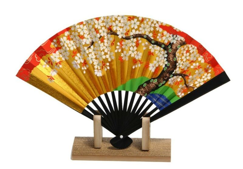 Kyoto Gold Sensu Japanese folding fan SAKURA Cherry pattern Japan
