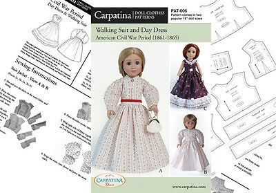 Civil War Ball Dress Day Suit Doll Clothes Pattern Fit American Girl & Carpatina