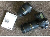 Nikon D810 DSLR 501 actuations, as new. 24-70mm 2.8 VR ED 105mm 1.4 ED D5 400mm 2.8