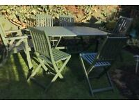 Hardwood garden table and six chairs Cuprinol Somerset green