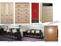 3 + 2-SEATER SOFA, BEDS, CHESTS OF DRAWERS, WARDROBES, COFFEE TABLE, TV STAND plus more...