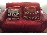 Red Leather DFS sofa