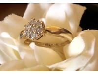 BEAUTIFUL VINTAGE 9ct GOLD DIAMOND CLUSTER RING 0.25 ct SIZE K-L