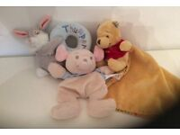 Winnie the Pooh, thumper and little roo baby comforters and rattle