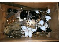 Lots of antique / vintage hardware, door knobs, brass hinges prices vary.