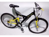 "MENS 18"" FULL SUSPENSION MOUNTAIN BIKE RECENTLY HAD SERVICE LIKE NEW"