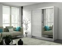 💥💯 INFINITE 2 DOORS SLIDING WARDROBE WITH HIGH GLOSS & FULL MIRROR, SUPER QUALITY ALL SHELVES RAIL