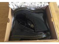 Dr.Martens Ladies Black patent leather Size 8 boots