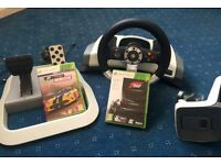Xbox 360 Wireless forcefeedback steering wheel + Forza 3 & Forza Horizons racing games