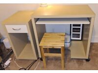 Small IKEA Home Computer Desk and Tower Unit with Stool