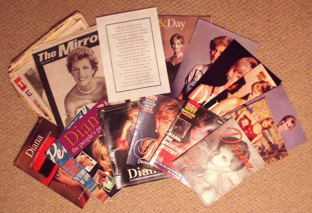 Vintage Princess Diana memorabilia: cuttings,newspapers,supplements. £8 ovno. Willing to separate.
