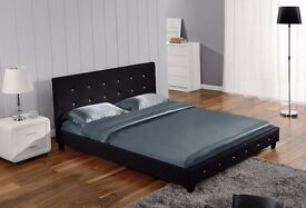 Black Faux Leather Diamante Bed frame - Double