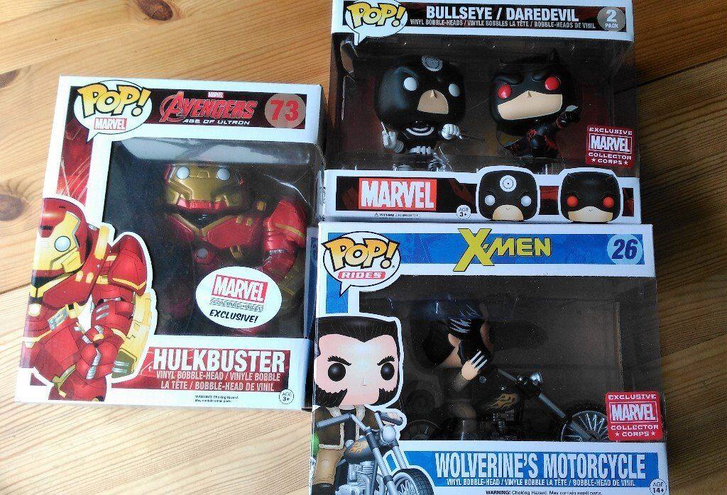 Funko Pop Vinyl Figures Collector Corps Exclusives Hulkbuster, Wolverine's Motorcycle, Bullseye etc.