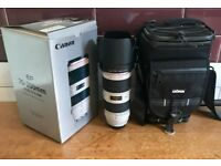 Immaculate Canon EF 70-200 mm f/2.8 L IS II USM Lens + Dorr Zoom Parkour Bag + Manfrotto Monopod