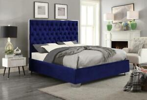 *BRAND NEW* Blue Velvet Upholstered Bed with Mattress Support, Ships to your Door. 0% Financing $166.50/month, 6 months